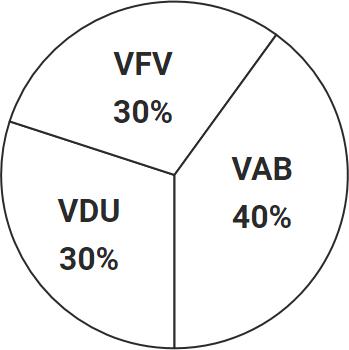 Pie Chart:  30% VFV / 30% VDU / 40% VAB